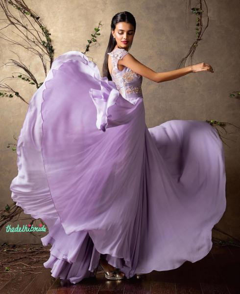 Top Picks Lilac anarkali gown with lightly embellished yoke 2 - Shyamal and Bhumika New Collection 2015 - A Little Romance - Autummn-Winter Collection 2015