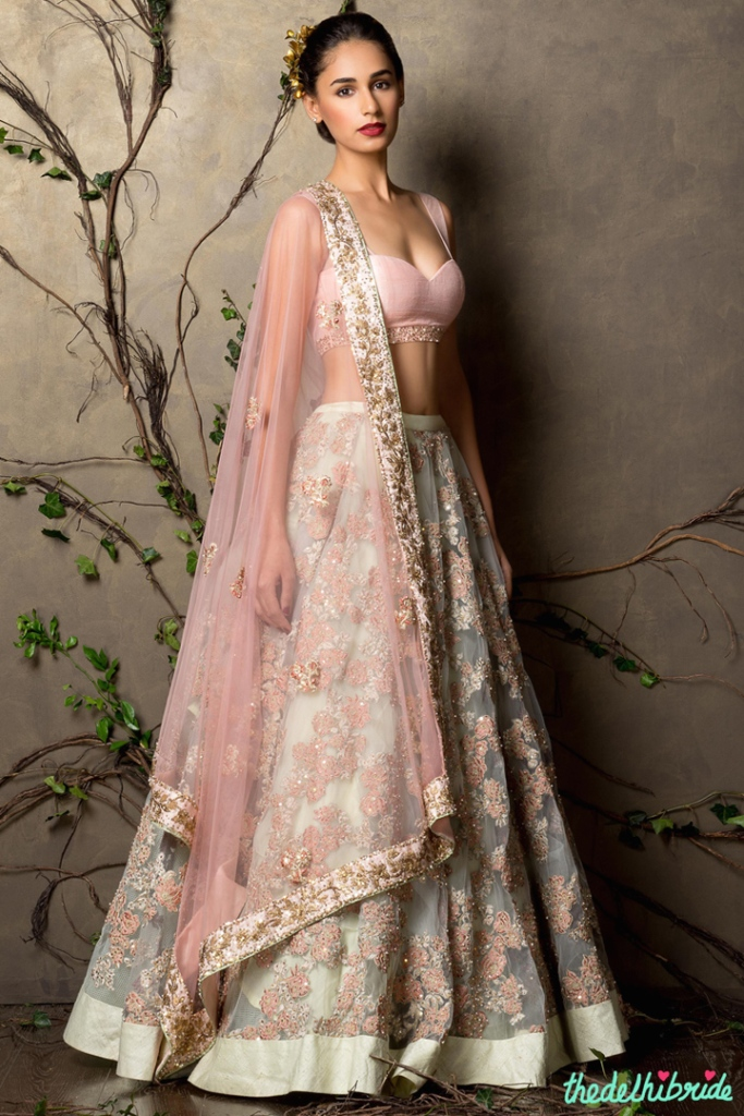 Top Picks Mint lehenga with embroidery and baby pink blouse and dupatta 2 - Shyamal and Bhumika New Collection 2015 - A Little Romance - Autummn-Winter Collection 2015