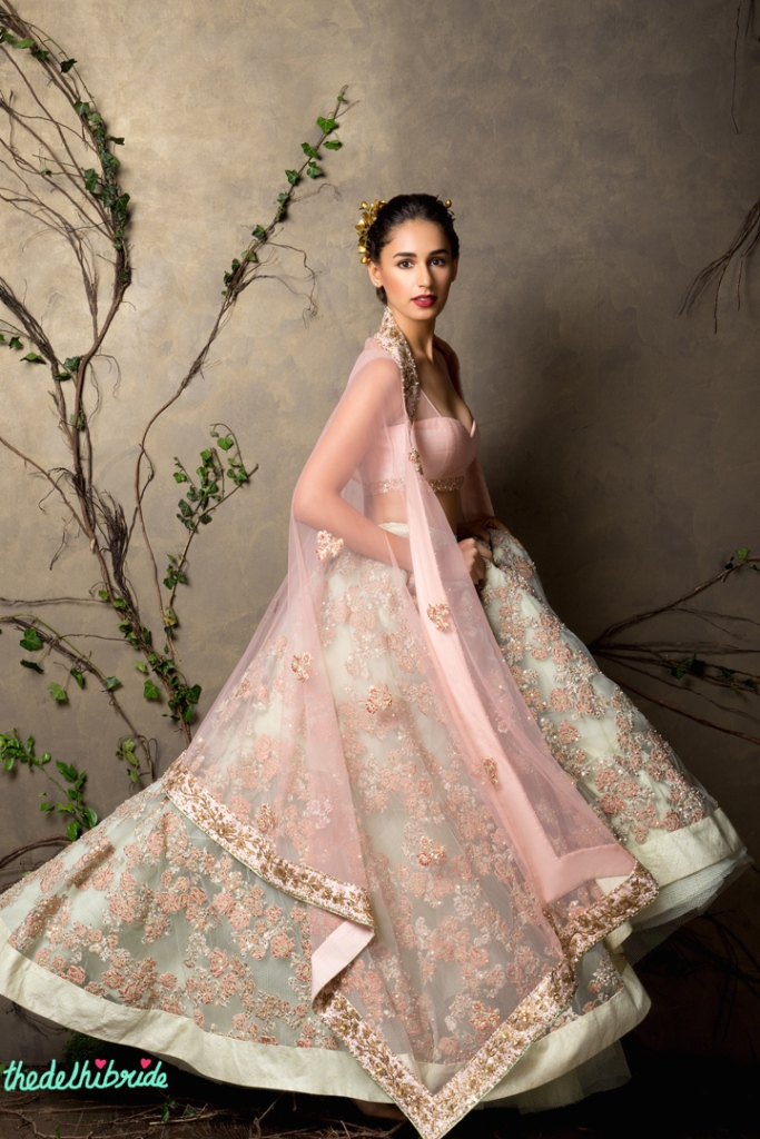 Top Picks Mint lehenga with embroidery and baby pink blouse and dupatta - Shyamal and Bhumika New Collection 2015 - A Little Romance - Autummn-Winter Collection 2015