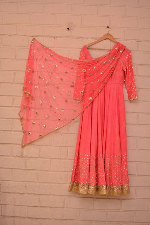 Top Picks - Neon pink anarkali suit with lightly embellished dupatta - Abhinav Mishra - Best Shahpur Jat boutique designer for bridal wear