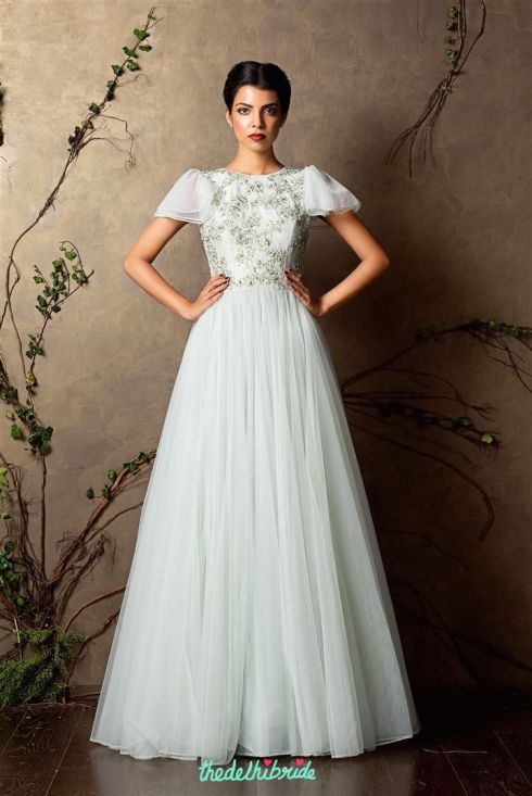 Top Picks Pale blue anarkali gown in tulle with 3D floral embroidery and puffed sleeves - Shyamal and Bhumika New Collection 2015 - A Little Romance - Autummn-Winter Collection 2015