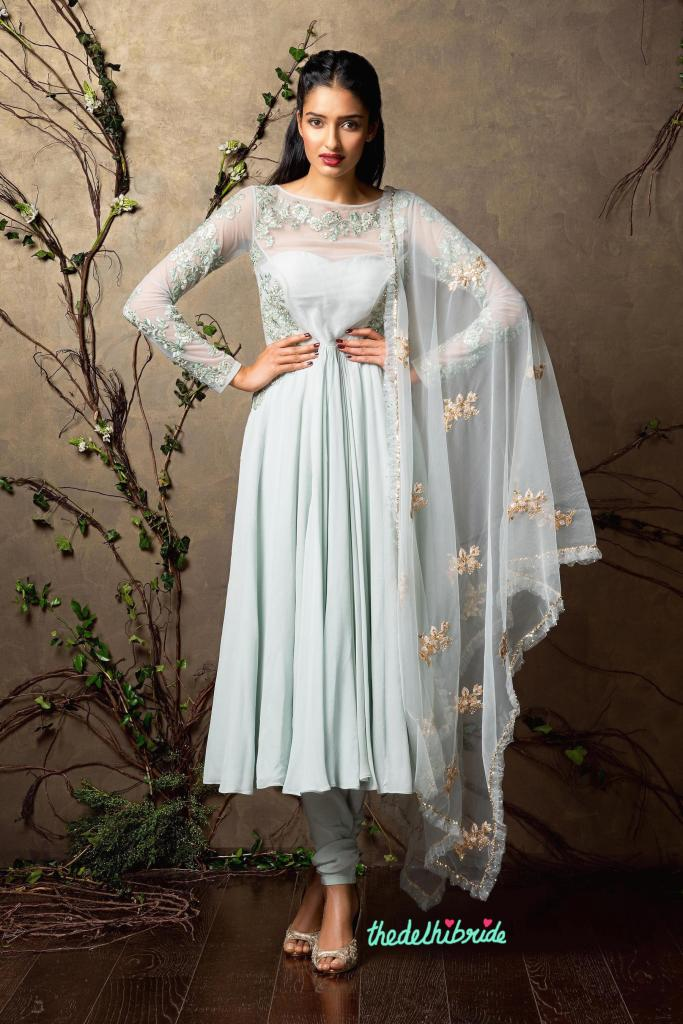 Top Picks Pale blue anarkali with light threadwork on sheer sleeves - Shyamal and Bhumika New Collection 2015 - A Little Romance - Autummn-Winter Collection 2015