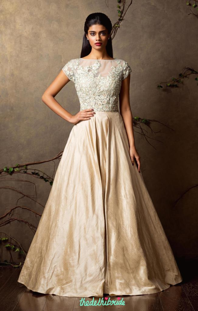 Top Picks Pale blue and champagne gold gown - Shyamal and Bhumika New Collection 2015 - A Little Romance - Autummn-Winter Collection 2015