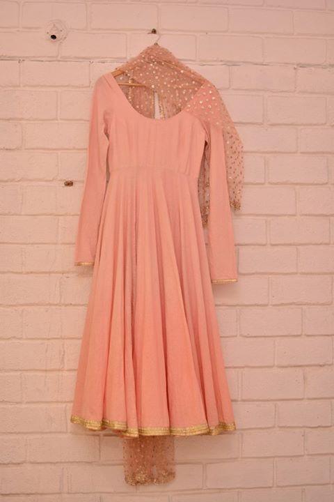 Top Picks - Pale pink light anarkali with sheer sequinned dupatta - Abhinav Mishra - Best Shahpur Jat boutique designer for bridal wear