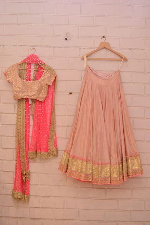 Top Picks - Pastel pink & gold lehenga with neon pink dupatta - Abhinav Mishra - Best Shahpur Jat boutique designer for bridal wear