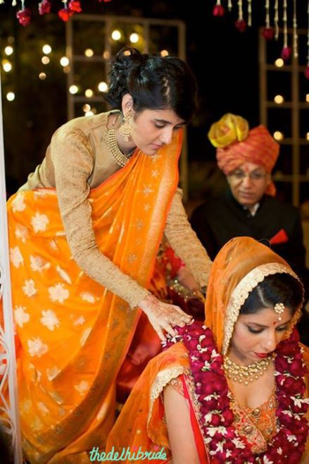 Yellow silk sari from Greenways
