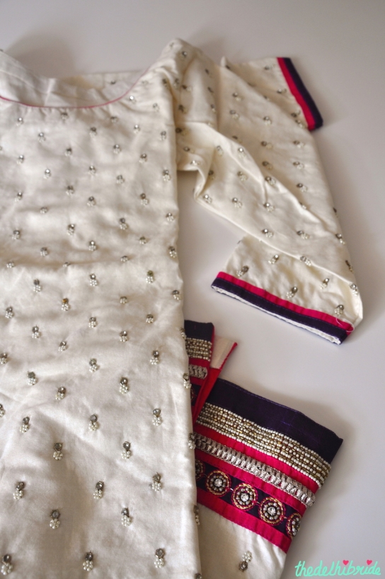 Fabric from Frontier Raas made into a suit I wore on Diwali