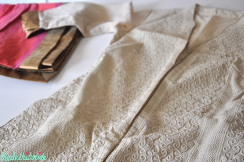 Kalpana beige fabric with pink dupatta - where to buy fabric in South Ex | Guide to Bridal & Festive Shopping at South Ex Market Delhi