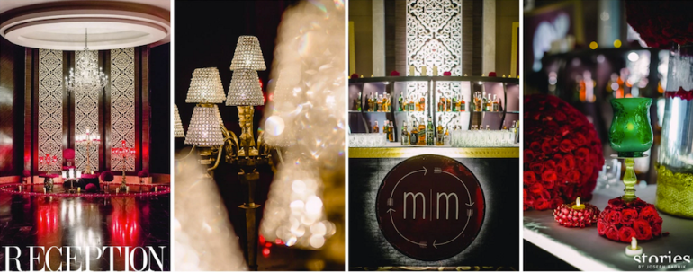Bride & groom monogram used in Reception decor - Masaba Gupta and Madhu Mantena wedding 2015