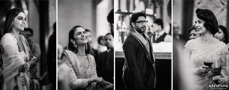 Candid shots - celebrity guests at Reception - Alia Bhatt, Sonam Kapoor, Arshad Warsi and Kangana Ranaut - Masaba Gupta and Madhu Mantena wedding 2015