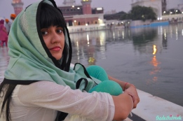 Relaxing by the water at Golden Temple
