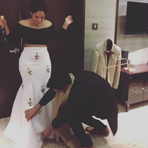Engagement - Masaba gupta's engagement outfit 1 - Masaba Gupta and Madhu Mantena wedding 2015
