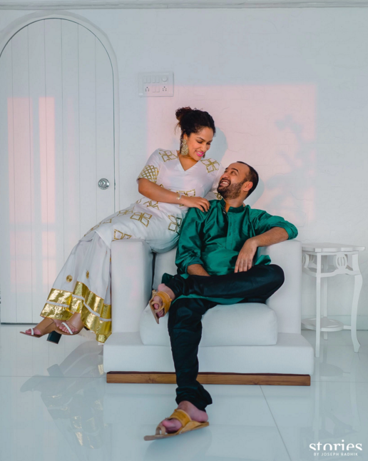 Mehendi - Couple's portrait - Masaba Gupta and Madhu Mantena wedding 2015