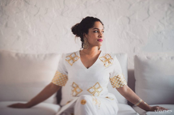 Mehendi - Masaba Gupta in white and gold kurta at her mehendi ceremony - Masaba Gupta and Madhu Mantena wedding 2015