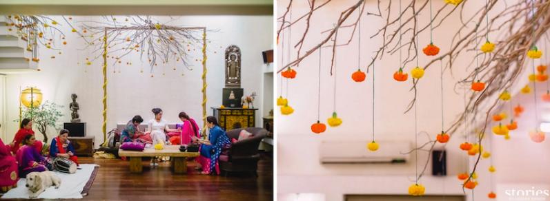 Mehendi - simple Mehendi decor at home with orange and yellow genda phool - Masaba Gupta and Madhu Mantena wedding 2015