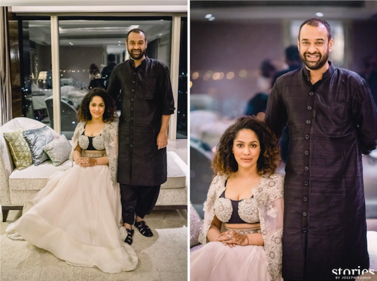 Reception - Couple Portrait & Masaba's Anamika Khanna cape lehenga - Masaba Gupta and Madhu Mantena wedding 2015
