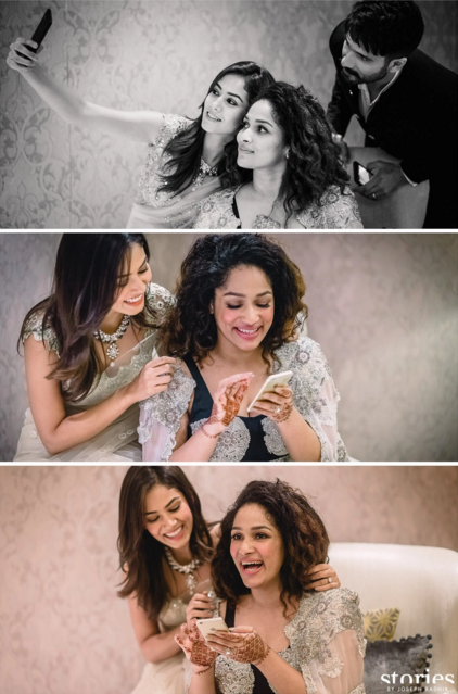 Reception - Shahid Kapoor and Mira Rajput with bride at her Reception - Masaba Gupta and Madhu Mantena wedding 2015