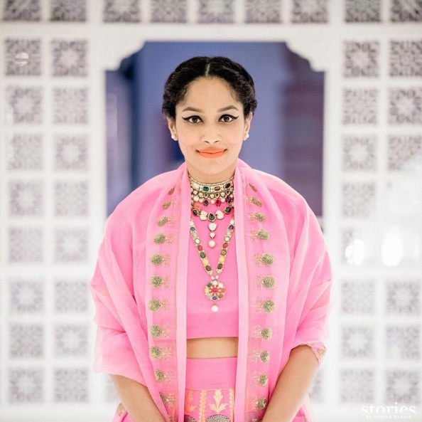 Sangeet - Masaba Gupta in a pink raw mango by Sanjay Garg lehenga details - Sangeet makeup for bride- Masaba Gupta and Madhu Mantena Wedding 2015