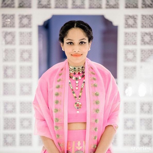 Sangeet - Masaba Gupta in a pink raw mango by Sanjay Garg lehenga details - Sangeet makeup for bride- Masaba Gupta and Madhu Mantena Wedding 2015