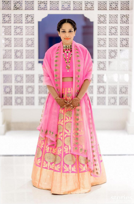 Sangeet - Masaba Gupta in a pink raw mango by Sanjay Garg lehenga - what to wear on Sangeet bride - Masaba Gupta and Madhu Mantena Wedding 2015