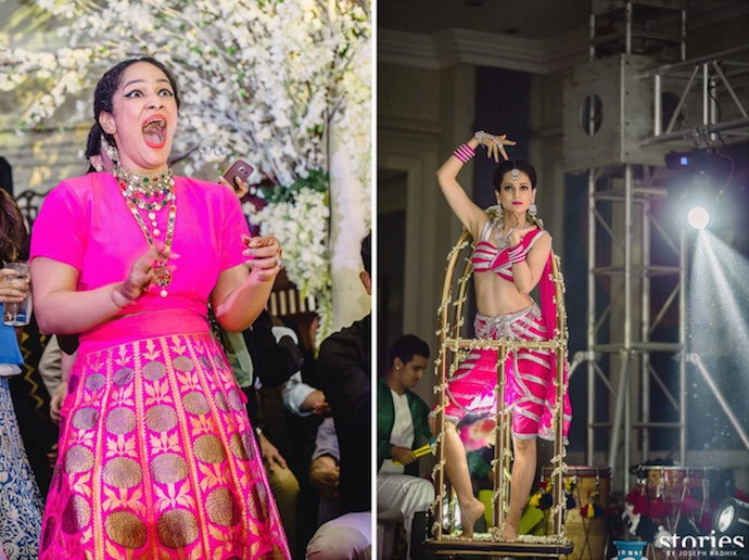 Sangeet - Masaba Gupta's reaction at Kangana Ranaut dancing as Sridevi on her Sangeet - Masaba Gupta and Madhu Mantena wedding 2015
