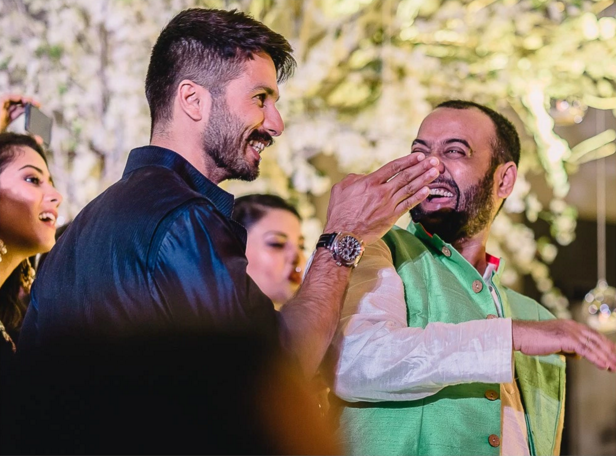 Shahid Kapoor with groom - Masaba Gupta and Madhu Mantena wedding 2015