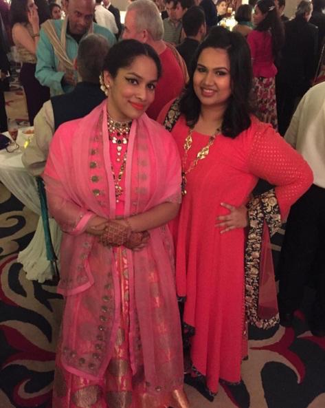 Wedding guest style - Sangeet - Pooja Dhingara in a dark pink high low anarkali - Masaba Gupta and Madhu Mantena Wedding 2015