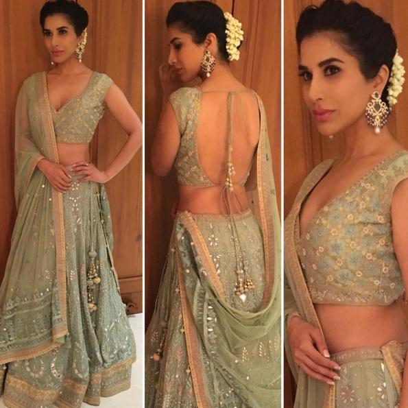 Wedding guest style - Sangeet - Sophie Choudhary in a mint green and peach Anita Dongre lehega - Masaba Gupta and Madhu Mantena Wedding 2015