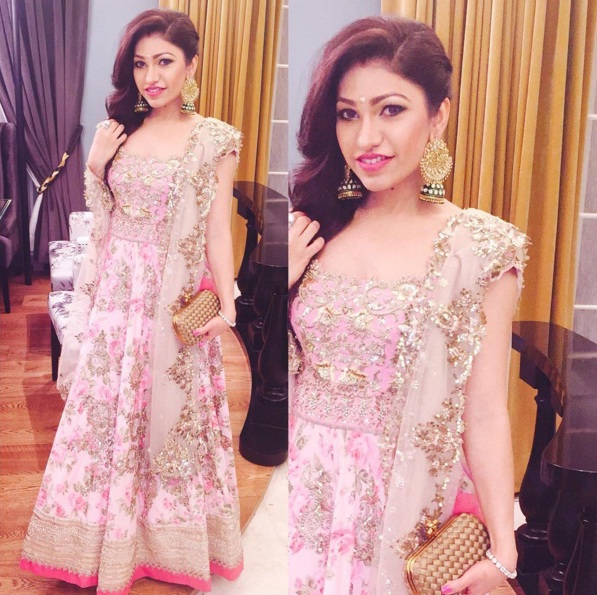 Wedding guest style - Sangeet - Tulsi Kumar in a pink Anushree reddy floral heavy anarkali - Masaba Gupta and Madhu Mantena Wedding 2015
