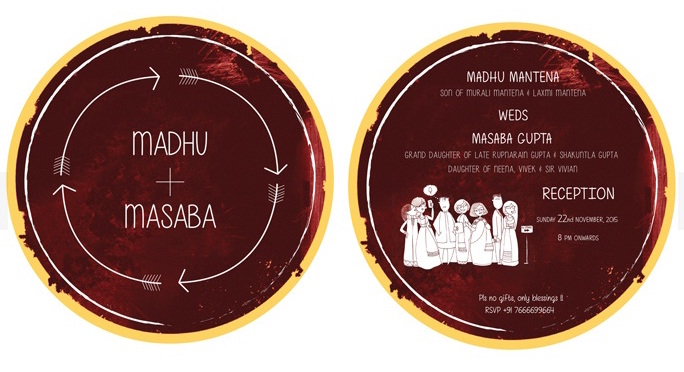 Wedding invite - cool funky & unique wedding card idea 3 - Masaba Gupta and Madhu Mantena wedding 2015