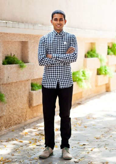 Bhane - black shirt with checks and black pants - Meherchand market wedding shopping guide
