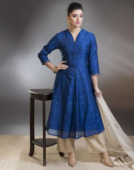 Fabindia - Blue anarkali with beige palazzo pants - Meherchand market wedding shopping guide
