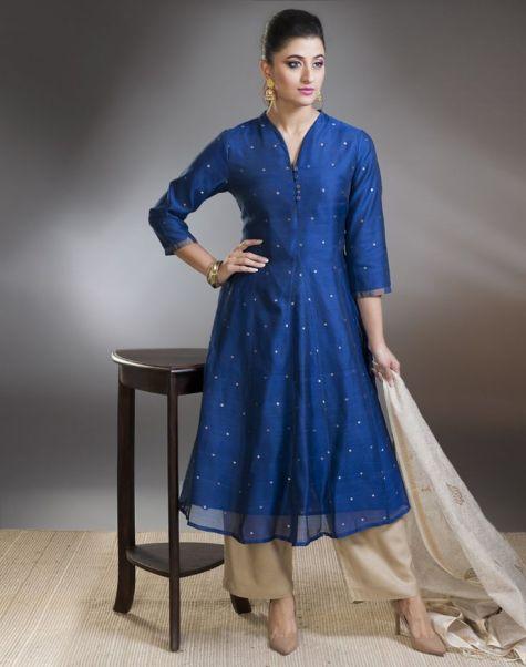 Fabindia - Blue anarkali with beige palazzo pants - Meherchand market wedding shopping guide
