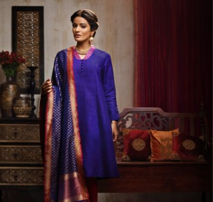 Fabindia - Royal blue suit with silk dupatta - Meherchand market wedding shopping guide