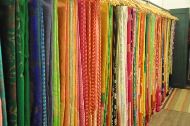 Katan by Ruchika Modi - Rack of silk saris - Meherchand market wedding shopping guide