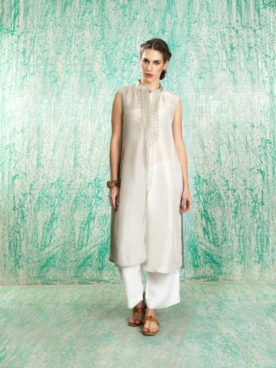 Manan - Silver kurta with white palazzos - Meherchand market wedding shopping guide