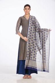 Ruh - Grey kurta with printed dupatta and blue palazzos - Meherchand market wedding shopping guide