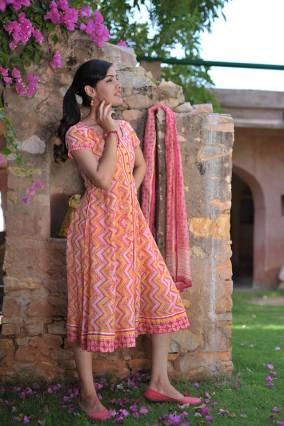 Soma - Orange printed kurta - Meherchand market wedding shopping guide