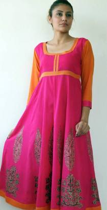 Soma - Pink and orange anarkali kurta - Meherchand market wedding shopping guide
