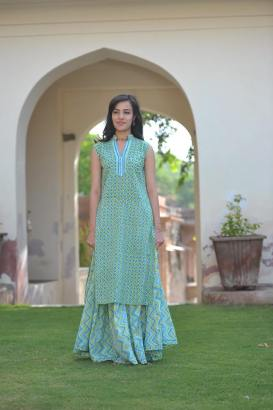 Soma - Sky blue kurta with printed skirt - Meherchand market wedding shopping guide
