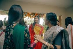 Aashirwaad & Mehendi - red kurta yellow dupatta on bride - Anasuya Wedding Wardrobe