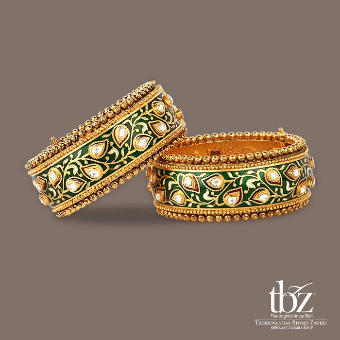 Jewellery - TBZ - Gold and green meenakari work bagle cuffs