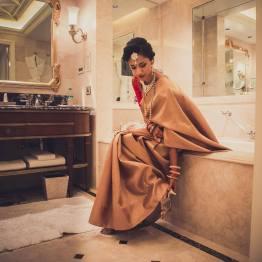 Reception - bridal portrait 1 - Malyali bride in dull gold Kanjeevaram sari - Anasuya Wedding Wardrobe