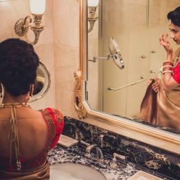 Reception - bridal portrait 2 - Malyali bride in dull gold Kanjeevaram sari - Anasuya Wedding Wardrobe