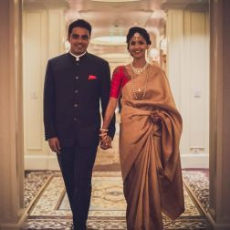 Reception - bride & groom portrait 2 - Anasuya Wedding Wardrobe