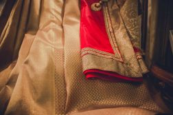 Reception - getting ready - dull gold Kanjeevaram sari - Anasuya Wedding Wardrobe