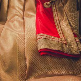 Reception - getting ready - dull gold Kanjeevaram sari - Anasuya Wedding Wardrobe