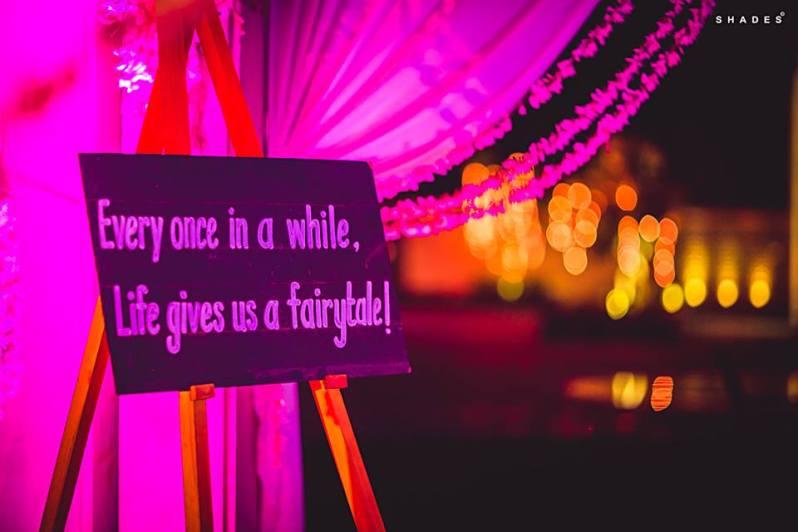 Rhea and Rishabh - Chalk board sign with quote - wedding decor idea