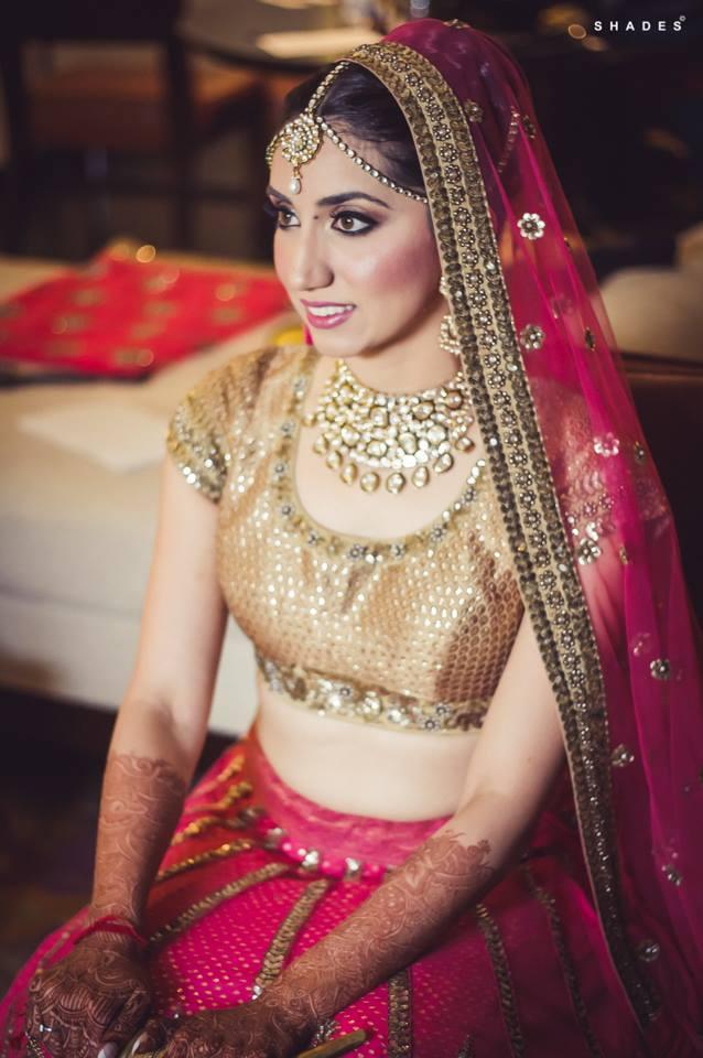 Wedding day makeup on Indian bride