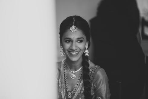 Wedding - Malyali bride getting ready black & white shot - Anasuya Wedding Wardrobe
